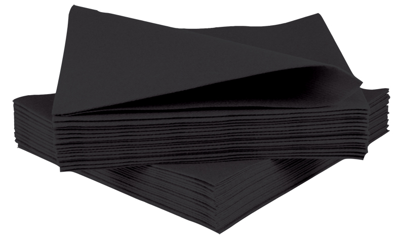 Black Cocktail Napkins 2ply 24cm