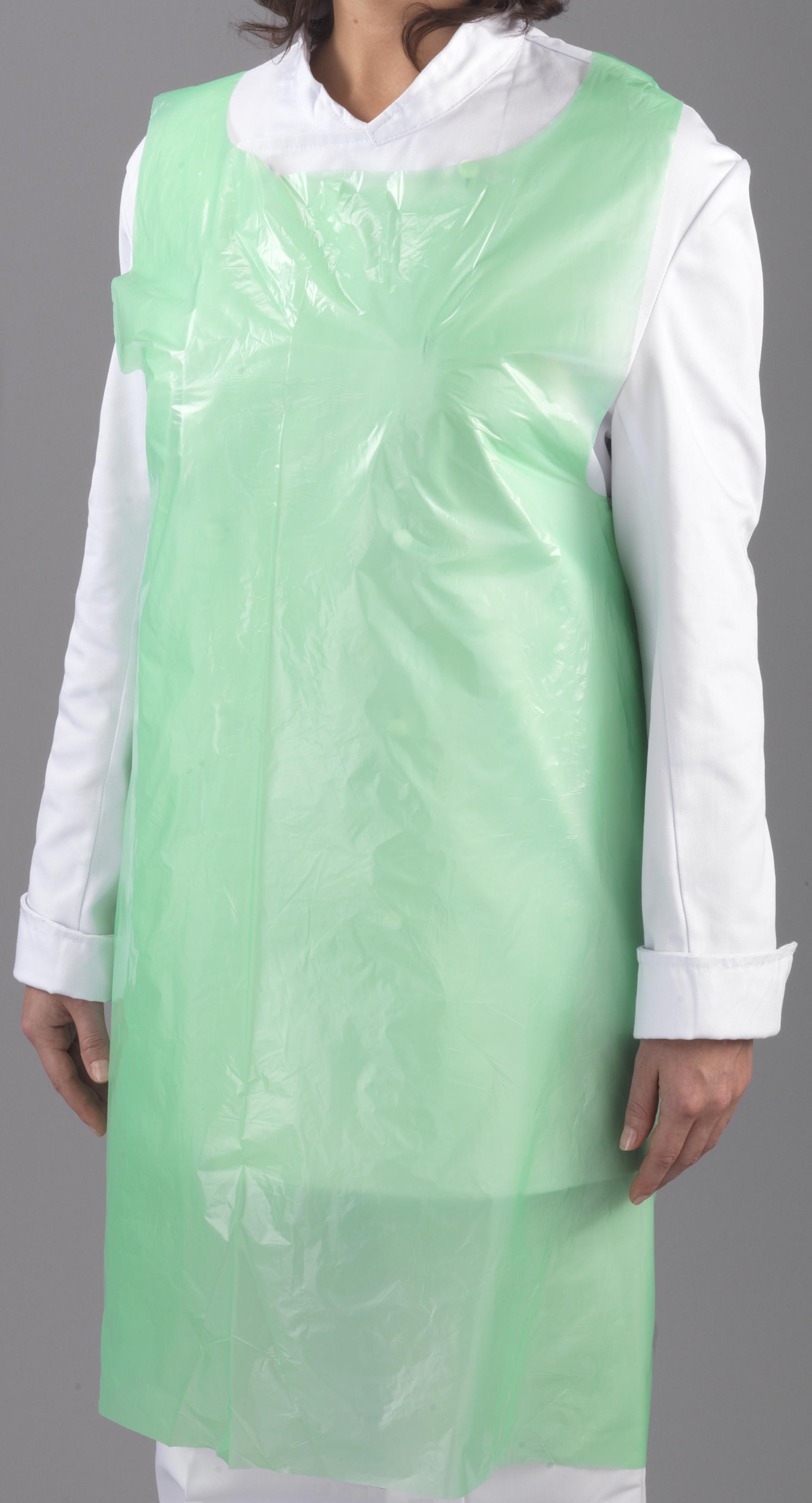 Green Plastic Aprons On Roll