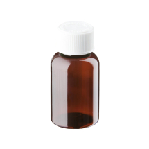 50ml Amber Plastic Pre-capped Unopac Bottles