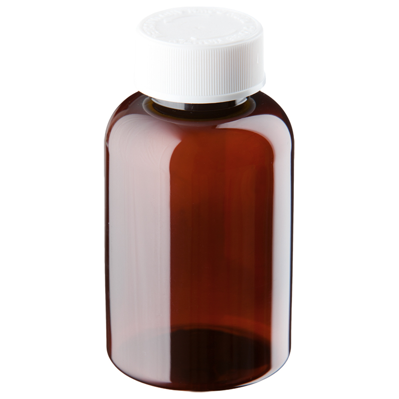 200ml Amber Plastic Pre-capped Unopac Bottles